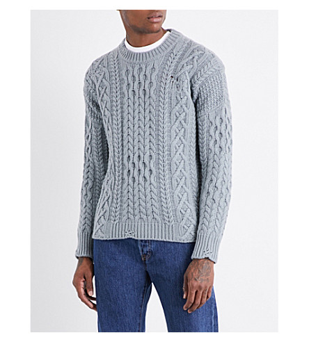 KENT & CURWEN Linton destroyed aran-knit wool jumper (Mint