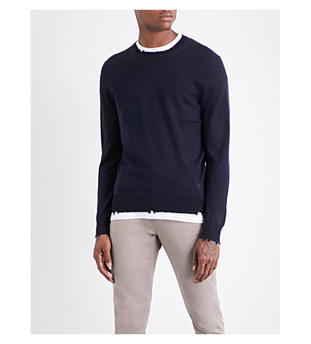 KENT & CURWEN Lowry destroyed wool jumper (Navy