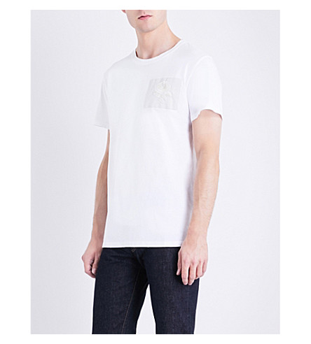 KENT & CURWEN Rose-embroidered cotton-jersey T-shirt (Optic+white