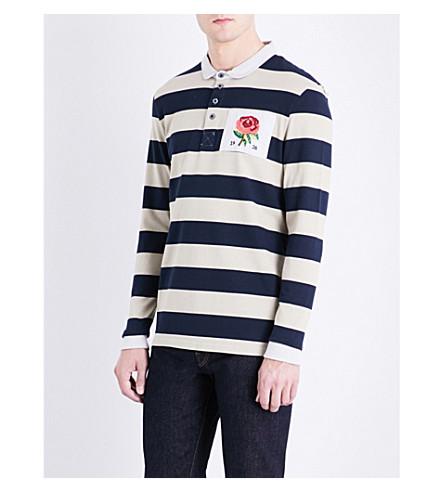 KENT & CURWEN Rugby-style cotton-jerey polo shirt (Dark+blue