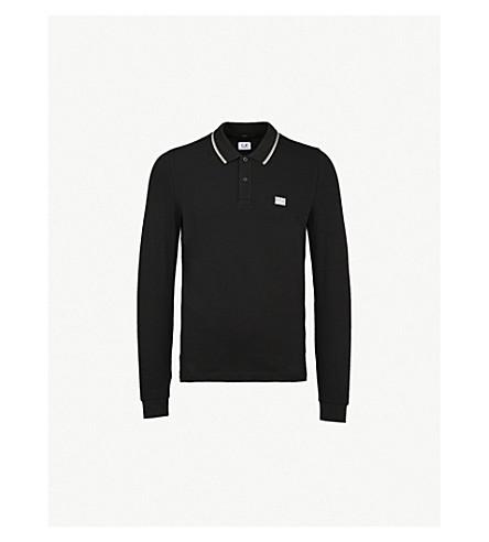 CP COMPANY 徽标补丁拉伸-棉 Polo 衫 (黑色