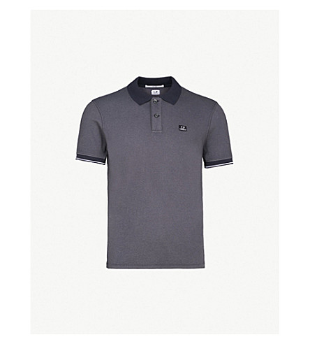 CP COMPANY Logo-patch cotton-blend polo shirt (Navy