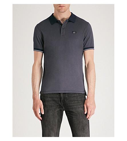 CP COMPANY Logo-patch cotton-blend polo shirt (Navy