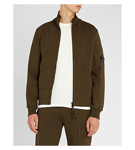 CP COMPANY 镜头细节平纹针织棉拉链夹克 (深色 + 橄榄色