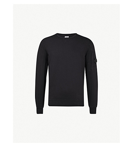 CP COMPANY Lens-embellished cotton-jersey sweatshirt (Navy