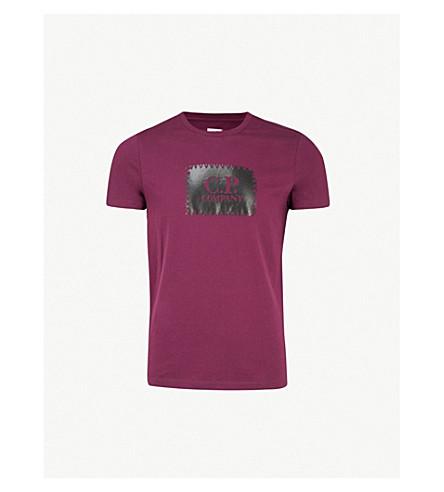 CP COMPANY 针脚徽标打印平纹针织棉 T 恤 (浆果