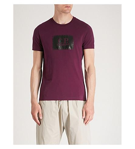 CP COMPANY Stitch logo-print cotton-jersey T-shirt (Berry