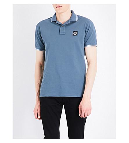 STONE ISLAND Slim-fit cotton-piqué polo shirt (Avio