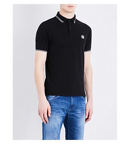 STONE ISLAND Slim-fit cotton-piqué polo shirt (Black
