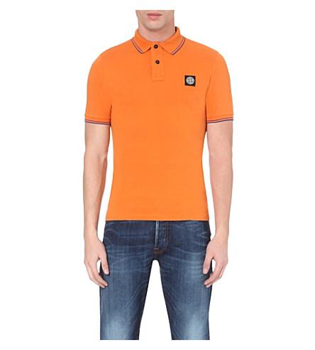 STONE ISLAND Slim-fit cotton-piqué polo shirt (Ruggne