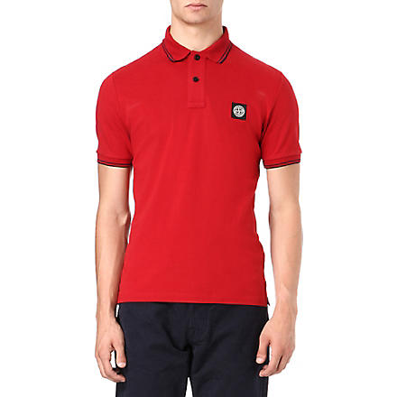 STONE ISLAND Slim pique polo shirt (Red
