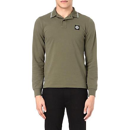 STONE ISLAND Long-sleeve pique polo shirt (Miltary