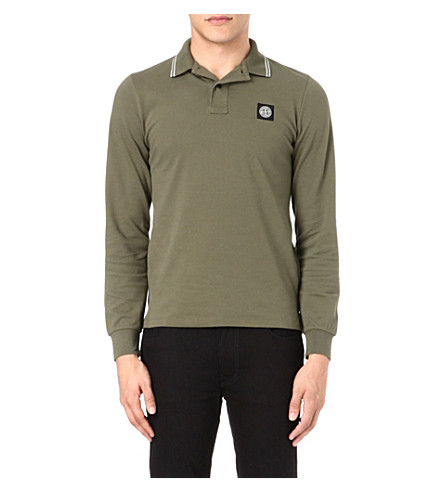 STONE ISLAND Long-sleeve pique polo shirt (Miltary