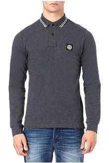 STONE ISLAND Long-sleeve pique polo shirt