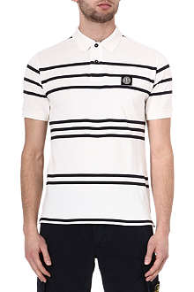 STONE ISLAND Stripe cotton polo shirt