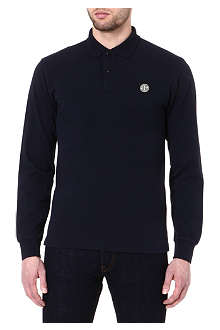 STONE ISLAND Long-sleeve pique cotton polo shirt