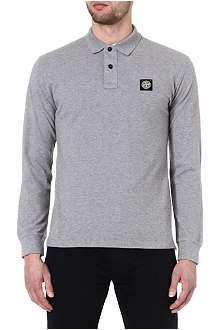 STONE ISLAND Long sleeve pique cotton polo shirt