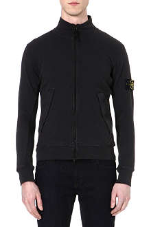 STONE ISLAND Logo-detailed zip-up sweatshirt
