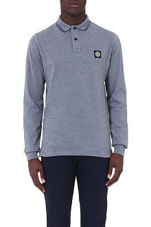STONE ISLAND Long-sleeved cotton-blend polo shirt