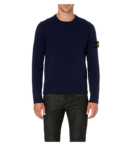 STONE ISLAND Logo badge crew-neck jumper (Ink