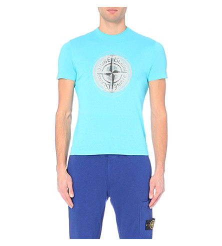 STONE ISLAND Logo cotton-jersey t-shirt (Turquoise