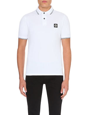 STONE ISLAND Striped-trim cotton-piqué polo shirt
