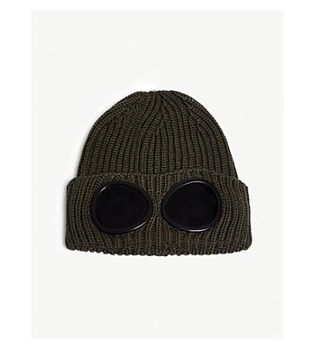 CP COMPANY 护目镜透镜羊毛毛线帽 (橄榄色