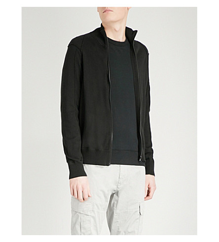 CP COMPANY Zipped cotton-knitted jumper (Black