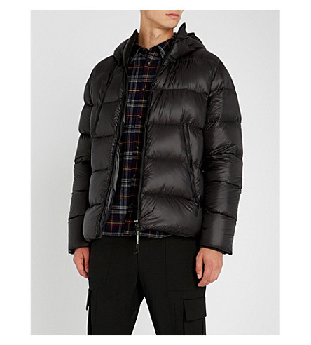 CP COMPANY Quilted shell and down-blend hooded jacket (Black