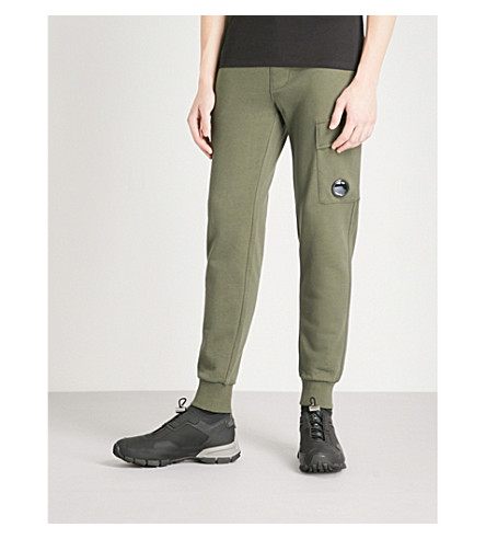 CP COMPANY Pocket lens cotton-jersey jogging bottoms (Olive