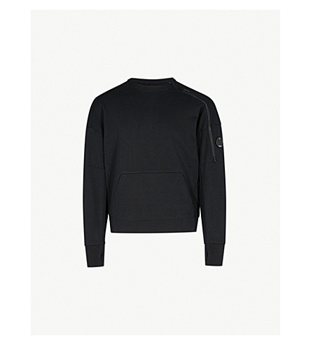 CP COMPANY Zip-embellished cotton-jersey sweatshirt (Black