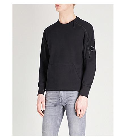 CP COMPANY Zip-embellished cotton-jersey sweatshirt (Black