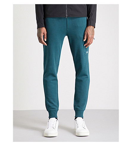 CP COMPANY Diagonal cotton-fleece jogging bottoms (Racing+green