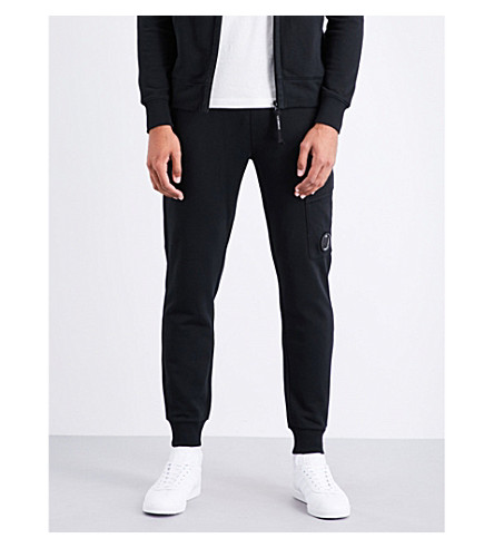 CP COMPANY Lens-detail cotton-jersey jogging bottoms (Black