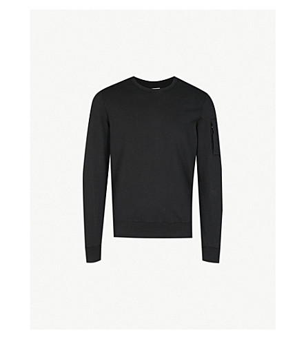 CP COMPANY Lens-detail cotton-jersey sweatshirt (Black