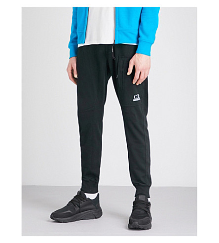 CP COMPANY Zip-pocket stretch-cotton jogging bottoms (Black