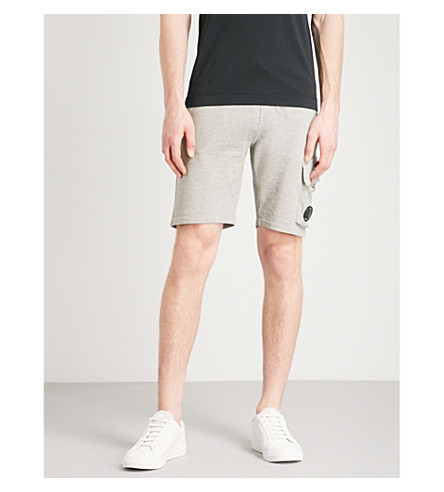 CP COMPANY Drawstring cotton-jersey shorts (Marl+grey