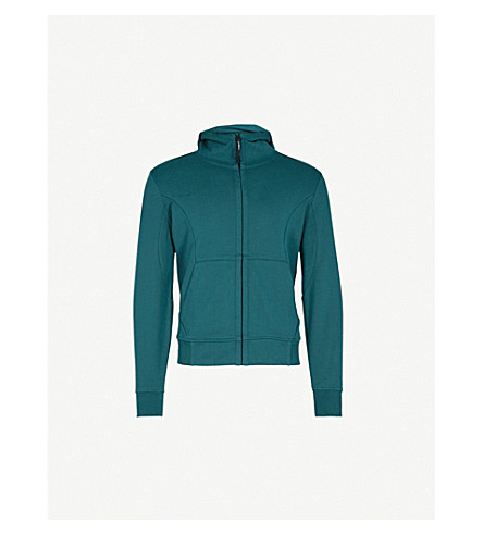 CP COMPANY Goggle-embellished panelled cotton hoody (Racing+green