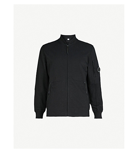 CP COMPANY Cotton-jersey fleece bomber jacket (Black