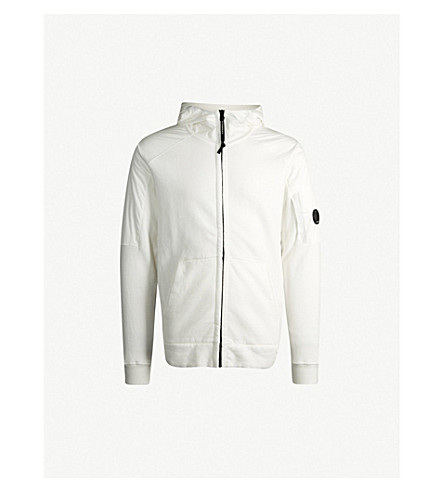 CP COMPANY Shell-panelled cotton-jersey hoody (White