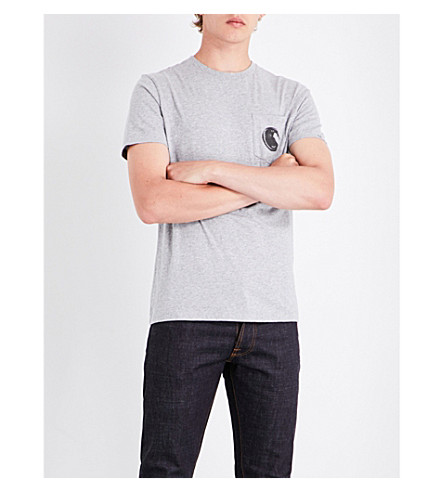 CP COMPANY Goggle cotton-jersey T-shirt (Grey+melange