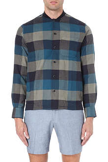 YMC Ribbed-collar checked shirt