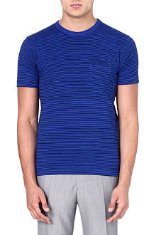 YMC Cotton stripe blue T-shirt