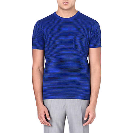 YMC Cotton stripe blue T-shirt (Navy