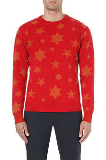 YMC Star-intarsia knitted jumper