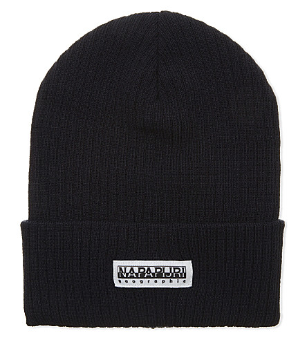 NAPAPIJRI Ribbed turn-up hem beanie (Blue+marine