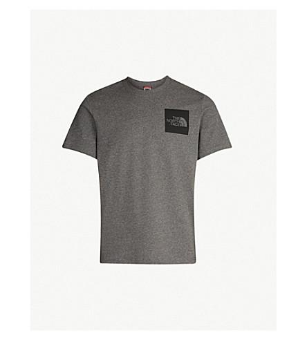 THE NORTH FACE 徽标打印平纹针织棉 T 恤 (灰色 + 石楠