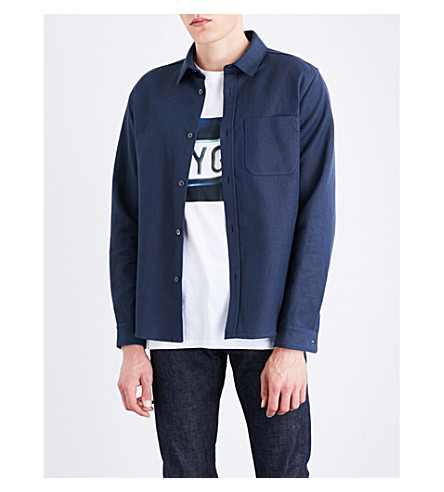 A.P.C. Trek cotton and linen-blend shirt (Bleu+acier