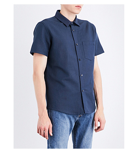 A.P.C. Bryan cotton and linen-blend shirt (Bleu+acier