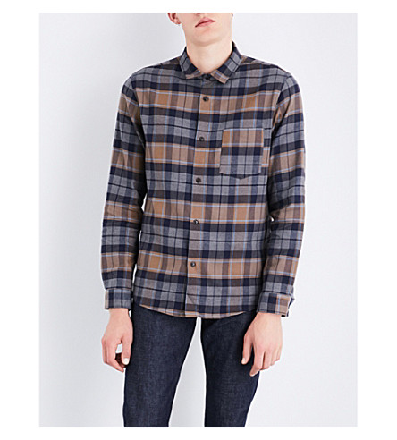 A.P.C. Milan checked cotton and linen-blend shirt (Marine